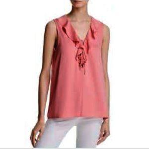 Sandra Angelozzi silk Pink ruffle sleevless top